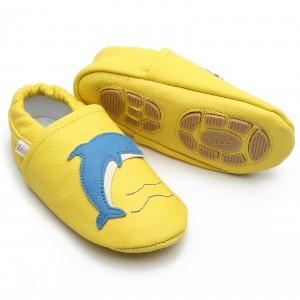 Liya's Hausschuhe Lederpuschen mit Teilgummisohle- #640 Delfin in gelb