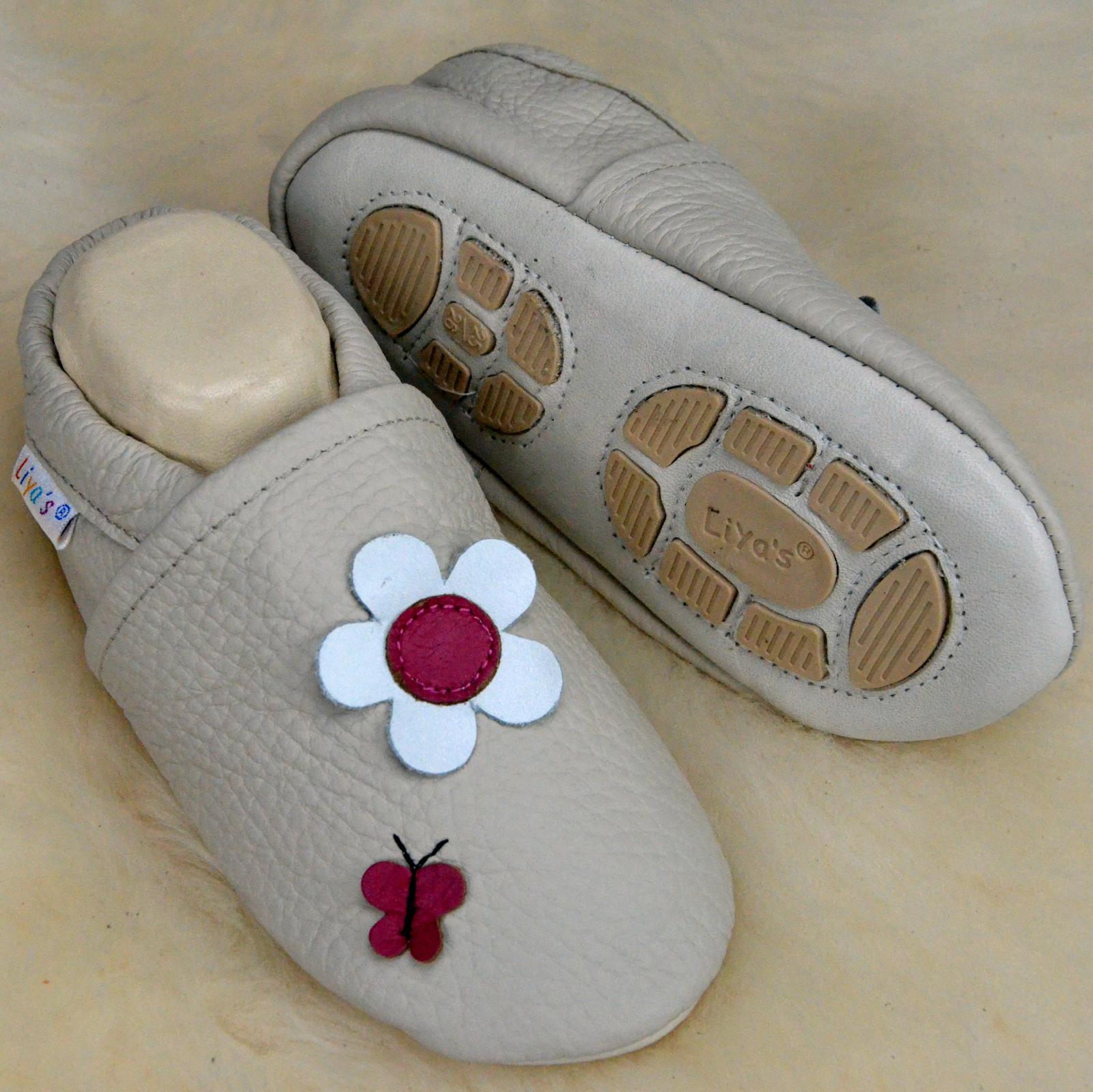 new styles b5d3c 4a640 Details zu Liya's Hausschuhe Lederpuschen Lauflernschuhe - #609 Blume u.  Schmetterling